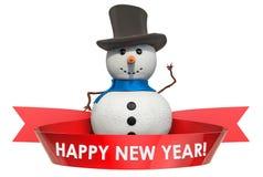 Guten Rutsch ins Neue Jahr-Konzept mit Schneemann und Text auf dem roten Band lizenzfreie abbildung
