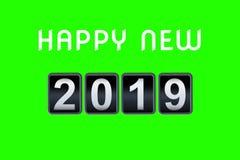 2018 2019-guten Rutsch ins Neue Jahr-Konzeptweinleseanaloger Gegencountdowntimer, Retro- des Zahl-Zählers des leichten Schlages J Lizenzfreies Stockbild