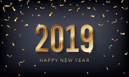 Guten Rutsch ins Neue Jahr 2019 Kreative abstrakte Vektorillustration mit funkelnden goldenen Zahlen auf dunklem Hintergrund