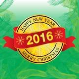 Guten Rutsch ins Neue Jahr-Logo 2016 auf grünem Weihnachtsbaumhintergrund Lizenzfreie Stockfotografie