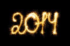 Guten Rutsch ins Neue Jahr machte eine Wunderkerze Lizenzfreie Stockfotografie
