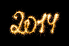 Guten Rutsch ins Neue Jahr - 2014 machten eine Wunderkerze Stockbilder