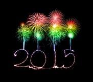 Guten Rutsch ins Neue Jahr - 2015 machten eine Wunderkerze Lizenzfreie Stockbilder
