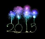 Guten Rutsch ins Neue Jahr - 2015 machten eine Wunderkerze Lizenzfreies Stockfoto