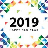 Guten Rutsch ins Neue Jahr 2019 mit abstraktem buntem Dreieck stockbild
