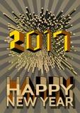 Guten Rutsch ins Neue Jahr mit abstrakter geometrischer Form und Zahl Stockbilder