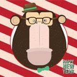 Guten Rutsch ins Neue Jahr mit Affen im Retro- Rahmen der Süßigkeit Lizenzfreies Stockbild