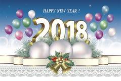 Guten Rutsch ins Neue Jahr 2018 mit Ballonen Stockbilder