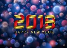 Guten Rutsch ins Neue Jahr 2018 mit Blauem und Rot verwischte Hintergrund mit Lichter Bokeh Lightsand Defocused buntem stype Hint Lizenzfreies Stockfoto