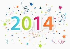 Guten Rutsch ins Neue Jahr 2014 mit buntem Feierhintergrund Stockfotos