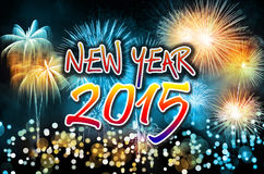 Guten Rutsch ins Neue Jahr 2015 mit bunten Feuerwerken Lizenzfreies Stockbild
