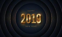 2019 guten Rutsch ins Neue Jahr mit dunklem Kreispapier-Schnitthintergrund Abstrakter moderner Vektorhintergrund der Beschaffenhe lizenzfreie abbildung