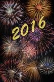 Guten Rutsch ins Neue Jahr 2016 mit Feuerwerk Stockfotos