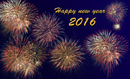 Guten Rutsch ins Neue Jahr 2016 mit Feuerwerk Lizenzfreie Stockfotos