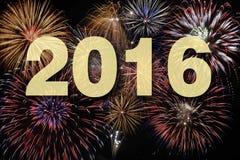 Guten Rutsch ins Neue Jahr 2016 mit Feuerwerk Stockfotografie
