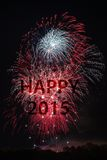 Guten Rutsch ins Neue Jahr 2015 mit Feuerwerken Stockfotos