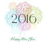 Guten Rutsch ins Neue Jahr 2016 mit Feuerwerksfeiertagshintergrund Stockfotografie