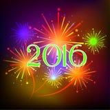 Guten Rutsch ins Neue Jahr 2016 mit Feuerwerksfeiertagshintergrund Stockbild
