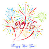 Guten Rutsch ins Neue Jahr 2016 mit Feuerwerksfeiertagshintergrund Lizenzfreie Stockfotografie
