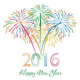 Guten Rutsch ins Neue Jahr 2016 mit Feuerwerksfeiertagshintergrund Lizenzfreie Stockfotos