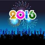 Guten Rutsch ins Neue Jahr 2016 mit Feuerwerkshintergrund Stockfotos