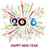 Guten Rutsch ins Neue Jahr 2016 mit Feuerwerkshintergrund Stockfotografie