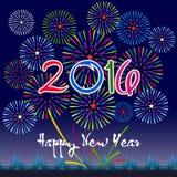 Guten Rutsch ins Neue Jahr 2016 mit Feuerwerkshintergrund Lizenzfreie Stockfotos