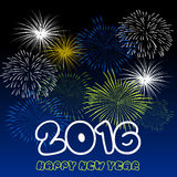 Guten Rutsch ins Neue Jahr 2016 mit Feuerwerkshintergrund Lizenzfreies Stockfoto