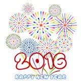 Guten Rutsch ins Neue Jahr 2016 mit Feuerwerkshintergrund Lizenzfreies Stockbild