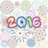 Guten Rutsch ins Neue Jahr 2016 mit Feuerwerkshintergrund Lizenzfreie Stockbilder
