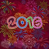 Guten Rutsch ins Neue Jahr 2016 mit Feuerwerkshintergrund Stockfoto
