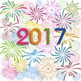 Guten Rutsch ins Neue Jahr 2017 mit Feuerwerkshintergrund Lizenzfreies Stockbild