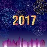 Guten Rutsch ins Neue Jahr 2017 mit Feuerwerkshintergrund Stockfotografie