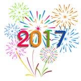 Guten Rutsch ins Neue Jahr 2017 mit Feuerwerkshintergrund Lizenzfreie Stockfotos