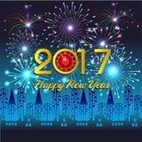 Guten Rutsch ins Neue Jahr 2017 mit Feuerwerkshintergrund Stockfotos