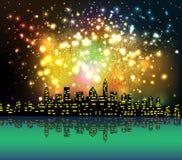 Guten Rutsch ins Neue Jahr mit Feuerwerksstadt nachts stock abbildung