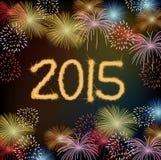 Guten Rutsch ins Neue Jahr mit Feuerwerksstadt nachts Lizenzfreies Stockfoto