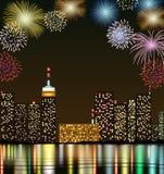 Guten Rutsch ins Neue Jahr mit Feuerwerksstadt nachts Lizenzfreie Stockfotografie