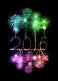 Guten Rutsch ins Neue Jahr 2016 mit Scheinfeuerwerk Lizenzfreies Stockbild
