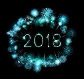Guten Rutsch ins Neue Jahr 2018 mit Scheinfeuerwerk nachts Stockfotografie