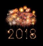 Guten Rutsch ins Neue Jahr 2018 mit Scheinfeuerwerk nachts Lizenzfreie Stockfotografie