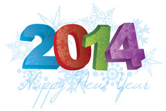 2014 guten Rutsch ins Neue Jahr mit Schneeflocken-Illustration Stockbild