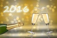 guten Rutsch ins Neue Jahr mit 2016 Toast Lizenzfreies Stockbild