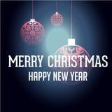 Guten Rutsch ins Neue Jahr mit Weihnachtshintergrund und Grußkartenvektor stock abbildung