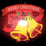 Guten Rutsch ins Neue Jahr mit Weihnachtshintergrund und Grußkartenvektor lizenzfreie abbildung