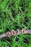 Guten Rutsch ins Neue Jahr 2016, Naturkonzept und Holz nummeriert Idee Lizenzfreies Stockfoto