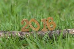 Guten Rutsch ins Neue Jahr 2016, Naturkonzept und Holz nummeriert Idee Stockbilder