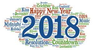 Guten Rutsch ins Neue Jahr - neues Jahr-Feier mit kühler Benennung stockfotografie