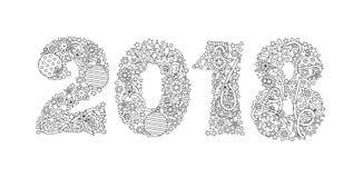 Guten Rutsch ins Neue Jahr Nr. 2018 lokalisiert auf weißem Hintergrund Zentangle spornte Art an Zenschwarzweiss-Grafik bild Stockfotografie