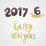 Guten Rutsch ins Neue Jahr 2017 oder 2016 Text-Design Lizenzfreies Stockbild
